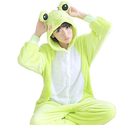 IFLIFE Unisex Erwachsene Pyjamas Cosplay Tier Onesie Nachtwäsche Halloween Schlafanzüge (L(für die Höhe169-178cm), Frosch)