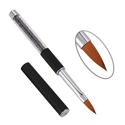 1 Stück Acryl Nail art Pinsel Strass Griff Konlinsky Sable Haar Nagel Werkzeug 10# (10#, Schwarz) - Acryl Pinsel-reiniger