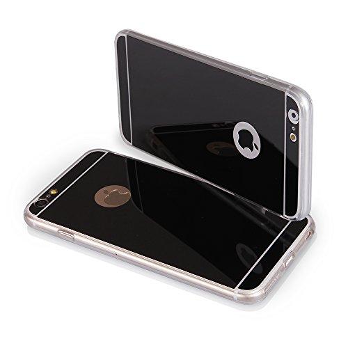 EGO® Luxus TPU Spiegel Schutzhülle Case für iPhone 5 / 5s schwarz Back Cover mit Glanz Mirror Schutz-Case Silikon Schwarz + Glas
