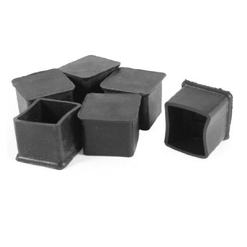 Sourcingmap en Caoutchouc antidérapant Cap Table Meubles Pied Covers 25 x 25 mm 6 pcs Noir