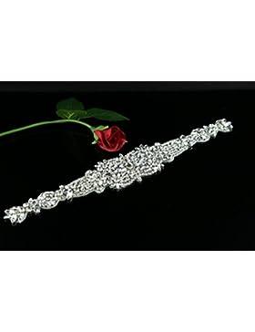 queendream Pearl Applique Cinturón de dama accesorios banda de novia con Pearl Crystal apliques ribbonbelt Decor...