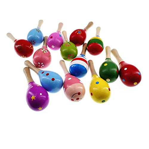 MULOVE 10 Pieces Wooden Maracas Percussion Rattle Shaker Sand Hammer Musical Instrument Educational Toys for Kids,Random Pattern Color