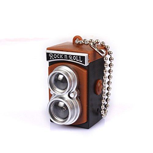 DaHanBL Mini LED Blitzlicht Kamera Stil Schlüsselanhänger Taschenlampe Shutter Sound Doppel-Objektiv Reflexion (Objektiv-stil-kamera)