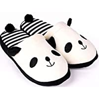 Panda Slippers Women Stripe Cute Indoor Plush Shoes (Color : White, Size : UK4.5/5.5)