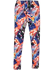 """Leggings mit trendy buntem Muster, Motive """"Stars & Stripes"""" und """"Union Jack"""", Paßkomfort durch hohen Elasthananteil, Größen M/L, XL/2XL"""