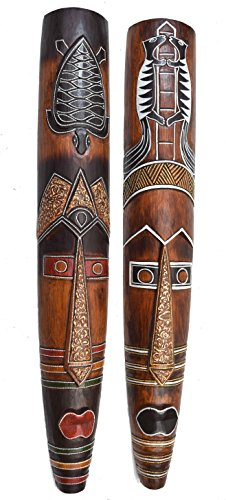 2 Masken aus Holz in 100cm mit Marder und Schildkröte als Motiv Wandmaske zum Aufhängen