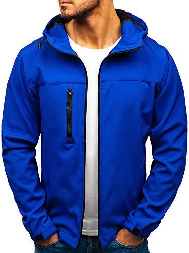 BOLF Herren Softshell Funktionsjacke Kapuze Fleecefutter Outdoor Sportlicher Stil J.Style 56005 Blau XXL [4D4] 100 Polyester Fleece-jacke