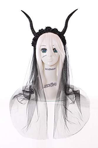tan Dämon Teufels-Hörner schwarz Rosen Geweih Fantasy Maleficent Fee Haarreif Kopfschmuck Gothic Lolita LARP ()