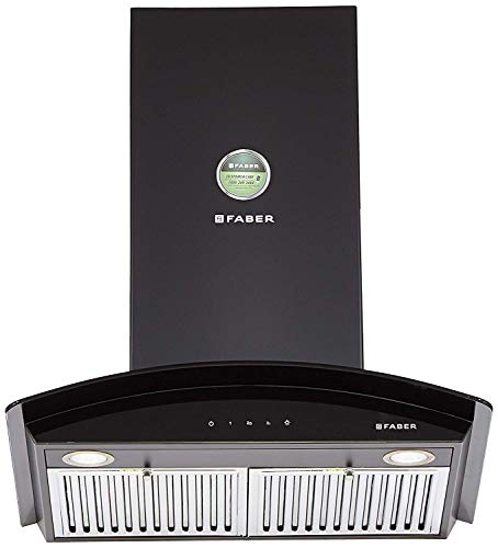 Faber 60 cm 1000 m³/hr Curved Glass Kitchen Chimney (Hood Tratto TC BK LTW 60, Baffle Filters, Touch Control, Black)