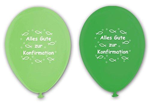 Unbekannt 10 Luftballons Alles Gute zur Konfirmation, GRÜN & HELLGRÜN, ca. 30 cm Durchmesser