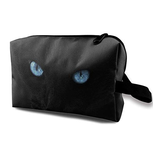 Travel Cosmetic Bag Cute Cat with Blue Eyes Lady Make-up Organizer Clutch Bag with Zipper Toiletry Storage Pouch