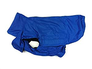 Waterproof Dog Coat Jacket, Fleece Lined For Warmth, Chest Protector, Reflective Piping For Night Safety Blue XL