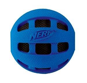 NERF Jouet Balle Sonore à Mâcher pour Chien Bleu/Orange 10,2 cm