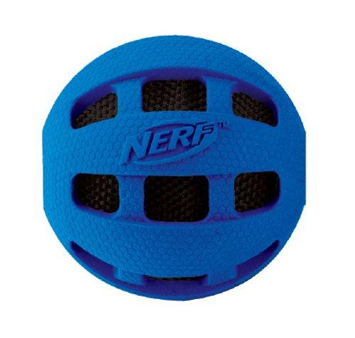 Artikelbild: Nerf Dog VP6619E Crunchable Squeak Checker Ball - Gummikauball mit Quietschgeräusch, blau/orange, M, 10 cm