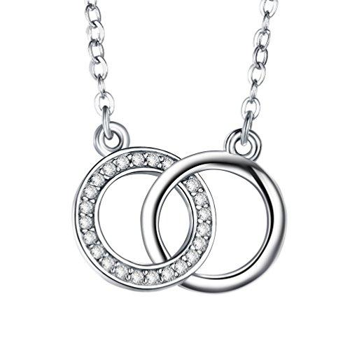 J.SHINE Ketten für Damen Silber 925 mit 3A Zirkon doppel Ring Ketten der liebe 45cm Geschenk fur Mutter Frau Freundin