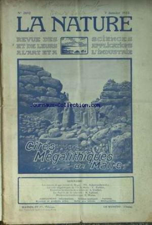NATURE (LA) [No 2492] du 07/01/1922 - CITES MEGALITHIQUES DE MALTE V. FORBIN - LES SOURCS DE GAZ NATUREL DU BUGE - SCHERESCHEWSKY - EINSTEIN ET LES THEORIES DE LA RELATIVITE - TROLLER ET LAFOND - MACHINE A ECRIRE ELECTRIQUE - WEISS. par Collectif