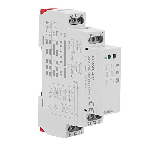 GRM8-02 Verzögerungsrelais Elektronisches Impulsrelais Latching Relay Memory Relay AC/DC 12-240V -
