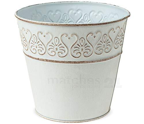 Matches21 Lot de 3 Pots de Fleurs en Zinc Brillant Blanc Vieilli 3 Tailles 15 cm
