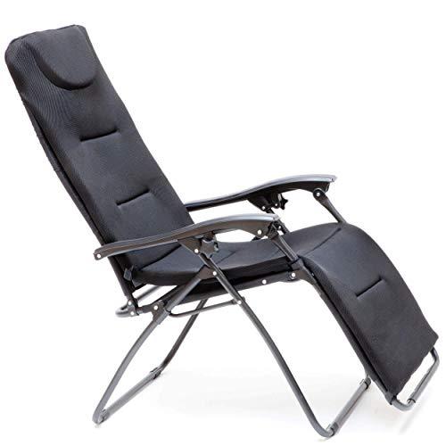 Faltstuhl mit Fußablage, Liegefunktion und 3D Mesh Bezug, schwarz
