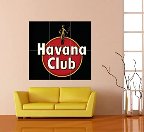 HAVANA CLUB BLACK EMBLEM LOGO RED DISC WHITE TEXT RUM ALCOHOL CUBA GIANT POSTER AFFICHE PRINT B153