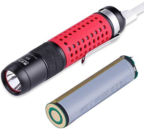 CIVICTOR S5Tactical LED Taschenlampe wiederaufladbar 2600mAh Akku 800Lumen Bezug rot IPX8Laterne, schwarz, S5 Black