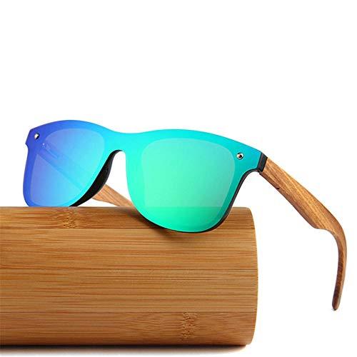 WJPY Hochwertige polarisierte Sonnenbrille aus Bambusholz, UV400, Vollspiegel-Sonnenbrille für Herren und Damen, 100% UV-Schutz@Grün
