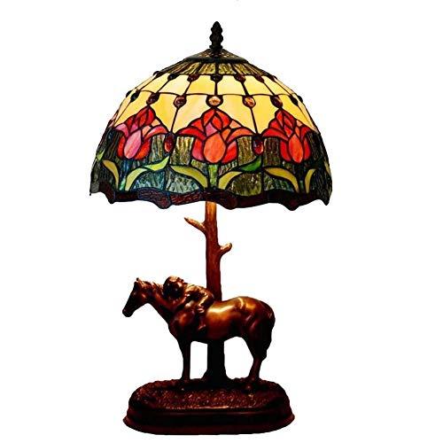 WY-LIGHT 12 Zoll Tischlampe Tiffany Stil Schreibtischlampe Schlafzimmer Nachttischlampe Retro Farbe Glas Art Deco TischlampenE27 × 1 -