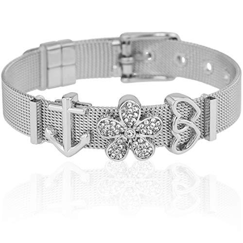 SUNIANA® - Mesh Armband Set mit Charms ♥Aloha♥ individuell erweiterbar| Charmband (Silber)