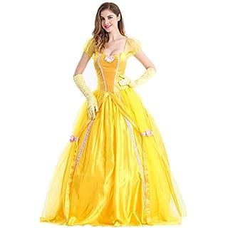 Feicuan Damen Prinzessin Fancy Dress Up Halloween Party Gelb Kostüm Queen