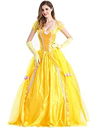 4fdc729d5b51 Feicuan Donna Principessa Belle Costumi Fancy Dress Up carnevale Halloween  Party Giallo Queen