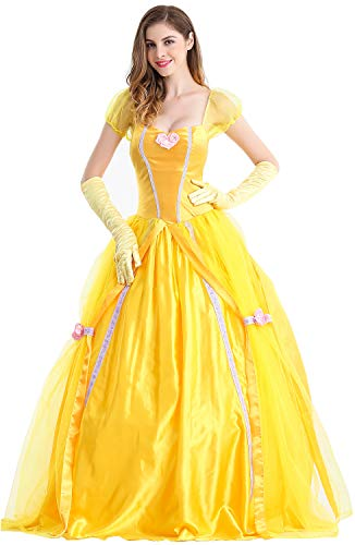 Gelb Damen M&m Kostüm - Feicuan Damen Prinzessin Fancy Dress Up Halloween Party Gelb Kostüm Queen