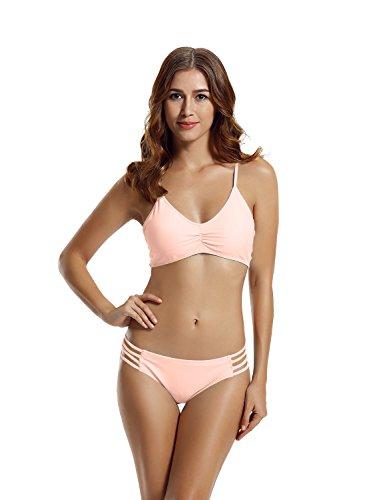 Zeraca Damen Strap Side Bikinihosen Racerback Bikini Badeanzüge S Euro 36 Euphorie Rosa (Cinched Top Taille)