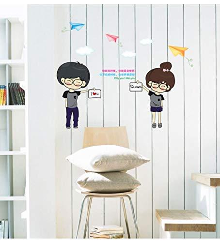 AFTUZC Wandaufkleber,Anime Paar Kostüm Romance Wall Sticker Wasserdicht PVC Umweltfreundlich Für Schlafzimmer Wohnzimmer Sofa Tv Hintergrund - Einfach Süßes Paar Kostüm