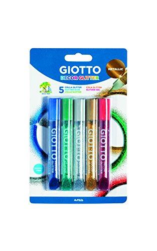Giotto Colla Metallolic Glitter 5pz Colori Assortiti 10,5 ml, 545100