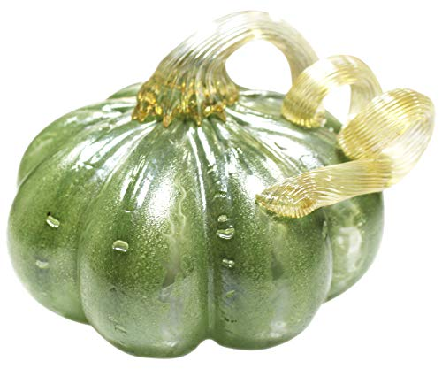 Vicreatwin handgeblasenes Glas Kürbis Sammlerstück, Tisch-Akzent für Herbsternte, Halloween, Erntedankfest, Dekoration, Ellipse, 13 cm, Grün