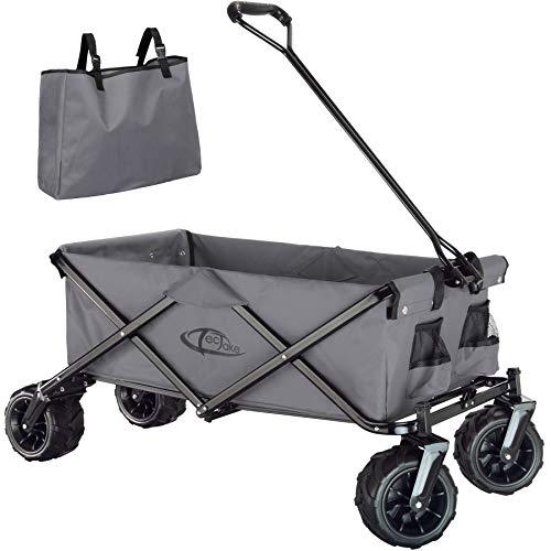 TecTake 800576 Chariot de Jardin Tout-Terrain, Max 80 kg, Pliable en Un Seul Geste - diverses Couleurs - (Gris | n° 402910)