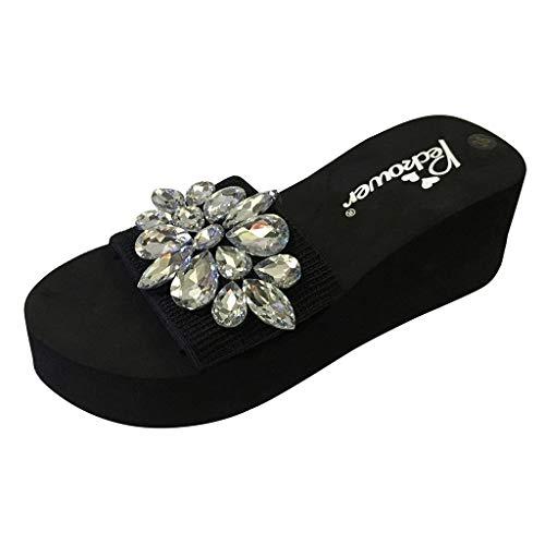 B-commerce Damen Wedges Sandalen Sommer Frauen Kristall Sandalen Hausschuhe Strand High Heels Schuhe -