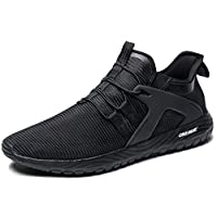 ONEMIX Slip-On Men's Road Running Shoes Sneakers Lightweight Breathable Outdoor Casual Sports Shoes for Men 1328 Black 46