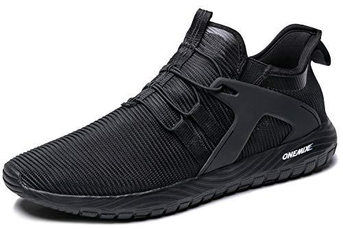ONEMIX Scarpe da Ginnastica Uomo Sportive Corsa Trail Running Sneakers Fitness Casual Basse Trekking Estive all'Aperto 1328 Black 44