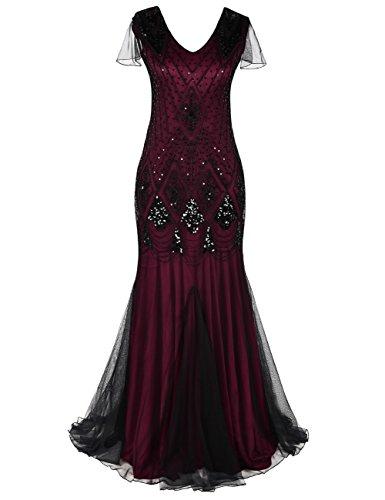 Kayamiya Damen 1920er Jahre Lange Abschlussball Kleid Hülsen Pailletten Formell Abendkleid S (Fransen 1920er Kostüm)