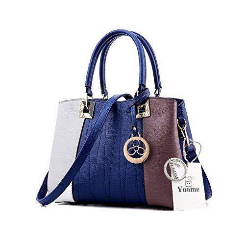 Yoome Contrast Colore Borse a tracolla in grande capacità borsa da tracolla New Chic Bags For Women - P.Grey W.B.Brown