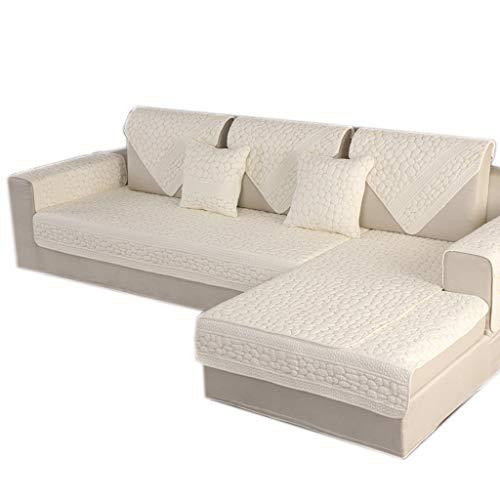 ALYR Baumwolle Sofa Abdeckung, Reversible Sofa üBerzug Ecksofa Couch-Überwurfüberwurf für Hunde Haustiere, Kinder,White_35x83inch