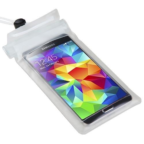 Premium large-sized t-trasparente impermeabile custodia borsa (con cordino) per Apple iPhone 6S, iPhone 6, iPhone 5C, iPhone 5S/5, iPod Touch (5th Generation), iPhone 4S/4, iPod Touch (
