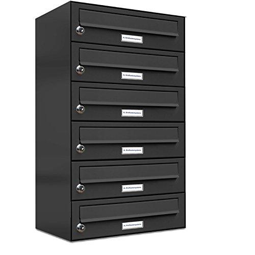 AL Briefkastensysteme 6er Briefkastenanlage Anthrazit Grau RAL 7016, Premium Briefkasten DIN A4, 6 Fach Postkasten modern Aufputz