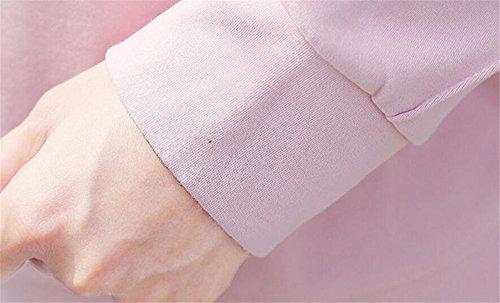 Aoliait Femme Basique Sweaters à Manches Longues Casual Col Rond University Shirt dAutomne Hauts Lâche Couleur Unie Jumper Décontractée Soft Tops pink