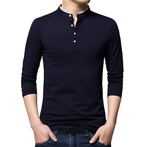 Xmiral Herren Top T-Shirt Button Stehkragen Langarm Schlank -