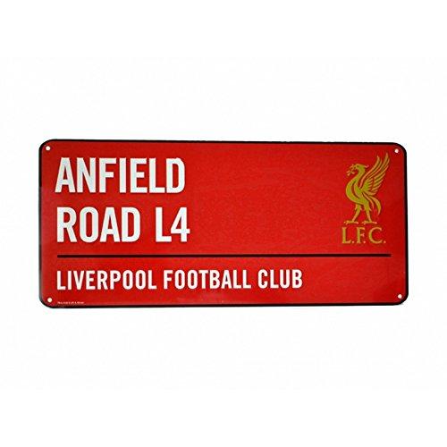 Liverpool FC Metallschild mit offiziellem Clubwappen und Stadionadresse (Einheitsgröße) (Rot)