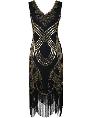 20er Gatsby Art Deco Perle Franse Flapper Charleston Kleid M Alle Gold (20er Jahre Art Deco)