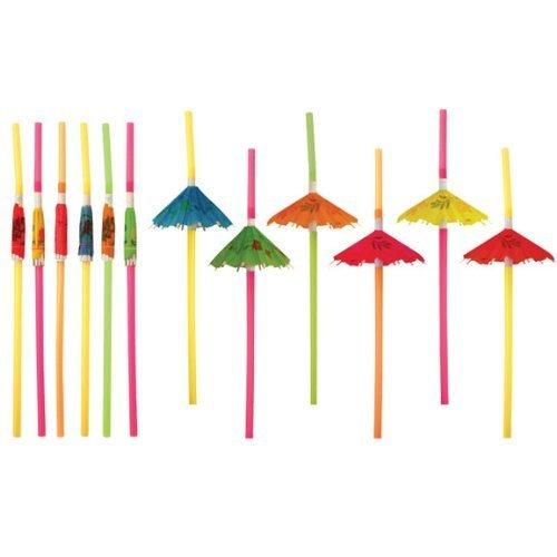 12-x-cocktail-umbrella-drinking-straw-assorted-party-bbq-hawaiian-theme-straws