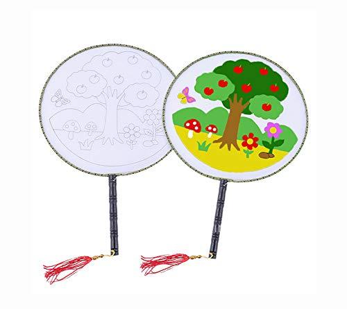Blancho Bedding Kinder Zeichnung Fan Tuch chinesischen Haltegriff Fans DIY gemalt, Apfelbaum Muster, 10 Packungen